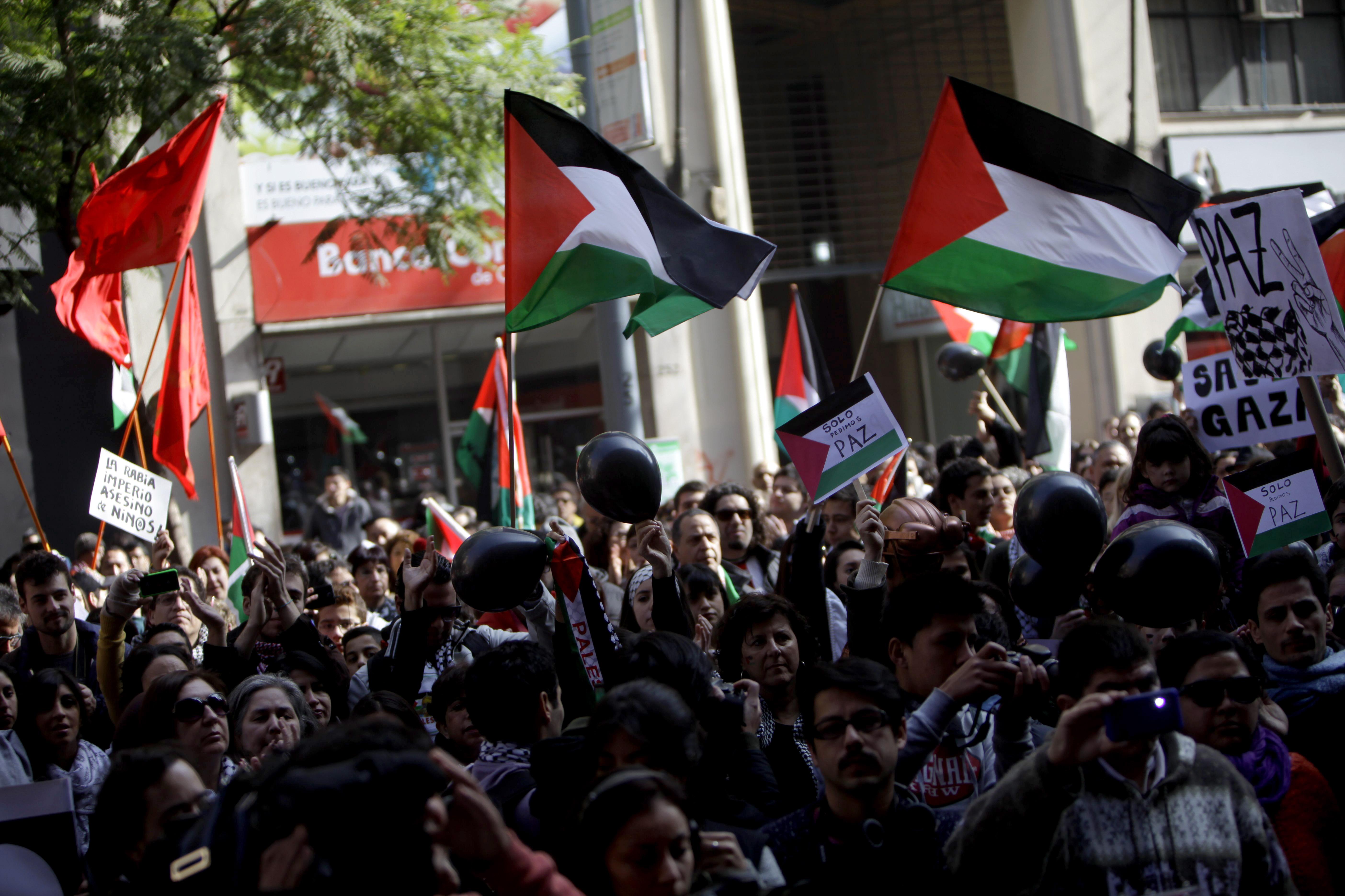 La comunidad Chileno- Palestina  se congregó para protestar en contra del conflicto en Gaza