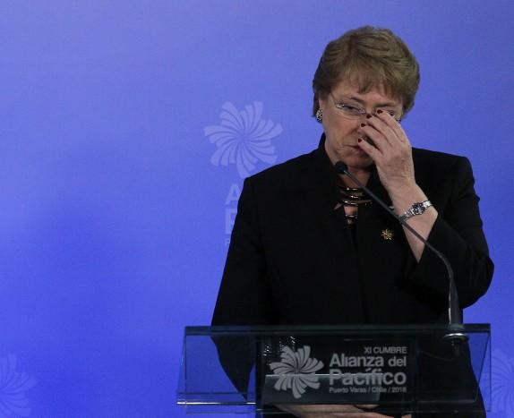 Michelle Bachelet realiza declaracion a los medios de comunicacion junto con los los presidentes de los paises miembros de la Alianza del Pacifico