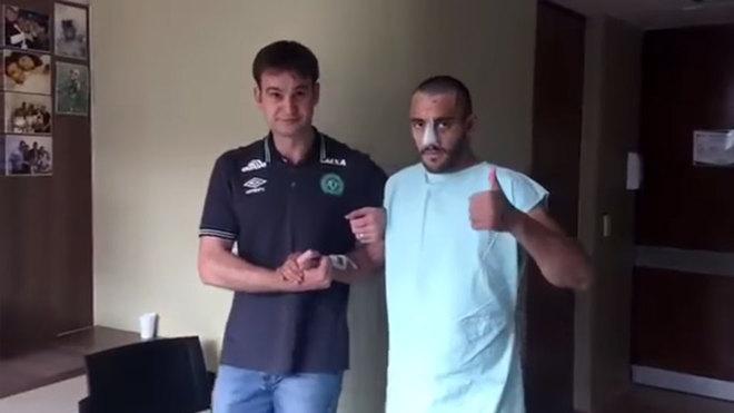El emotivo video del jugador del Chapecoense que sobrevivió a la tragedia