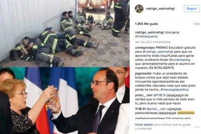 Bachelet brindando vs. brigadistas trabajando: concejal Rodrigo Wainraihgt desata la polémica por esta imagen