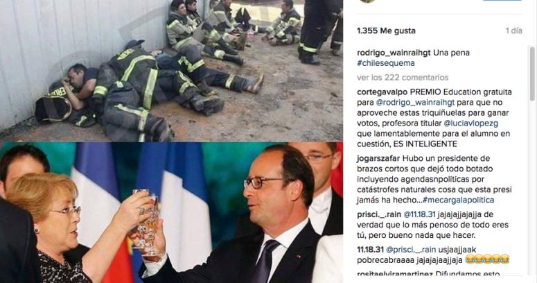 """""""Bachelet brindando vs. brigadistas trabajando: concejal Rodrigo Wainraihgt desata la polémica por esta imagen"""""""