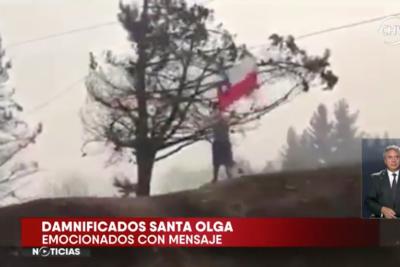 VIDEO |Conmovedora historia detrás del niño que flameaba una bandera tras incendio en Santa Olga