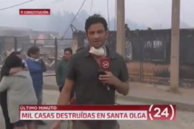 VIDEO | Respeto: aplauden gesto en vivo de periodista de TVN con familia que perdió todo en Santa Olga