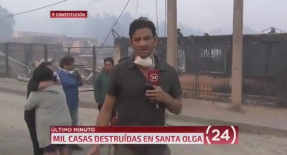 VIDEO   Respeto: aplauden gesto en vivo de periodista de TVN con familia que perdió todo en Santa Olga