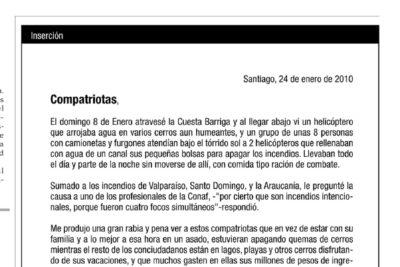 Inserto en El Mercurio vinculó incendios, conflicto mapuche, juicios internacionales y ley de aborto