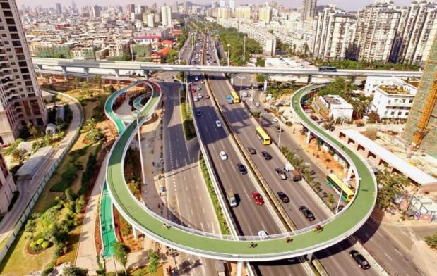 China desde altura: así es la ciclovía elevada más larga del mundo