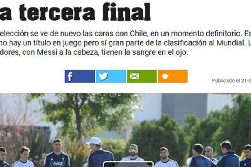"""Prensa argentina califica de """"tercera final"""" duelo con Chile: """"Messi les tiene sangre en el ojo"""""""