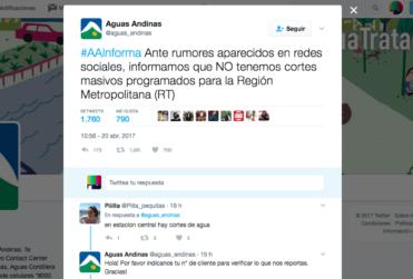 Tuit de Aguas Andinas deja en evidencia que la empresa no tiene idea dónde está parada
