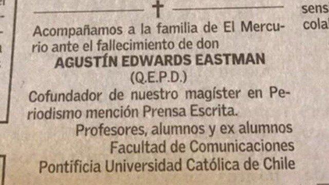 """""""Obituario por muerte de Agustín Edwards genera enfrentamiento entre alumnos y la PUC"""""""