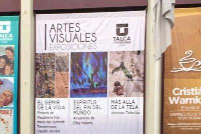 Presentan exposición de obras de técnicas visuales mixtas de múltiples artistas en Universidad de Talca