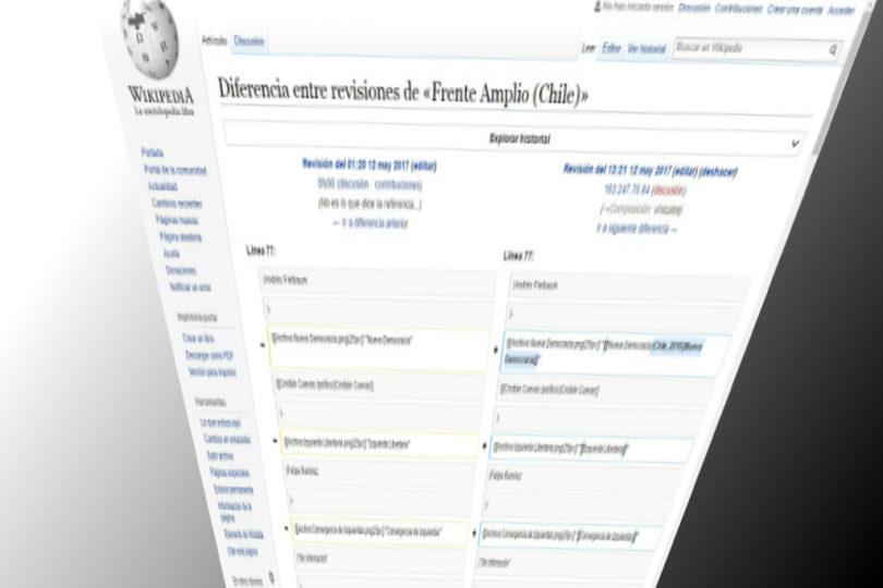 Las modificaciones a la página de Wikipedia del Frente Amplio realizadas desde el gobierno