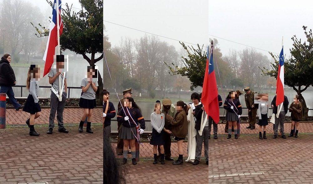 Escolares de Hualqui realizan acto de 21 de mayo en polera y con 4° de temperatura