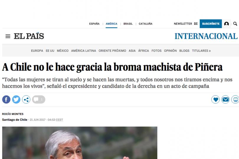 Comentario machista de Piñera da la vuelta al mundo y copa portadas en los principales medios