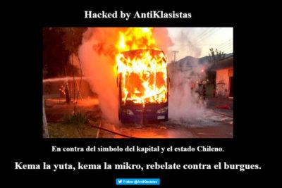 """Hackers se tomaron el sitio web del Transantiago: """"En contra del símbolo del kapital"""""""