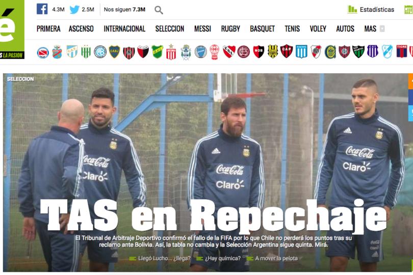 FOTOS + VIDEO |Imperdibles reacciones de la prensa argentina tras el fallo del TAS que favoreció de Chile