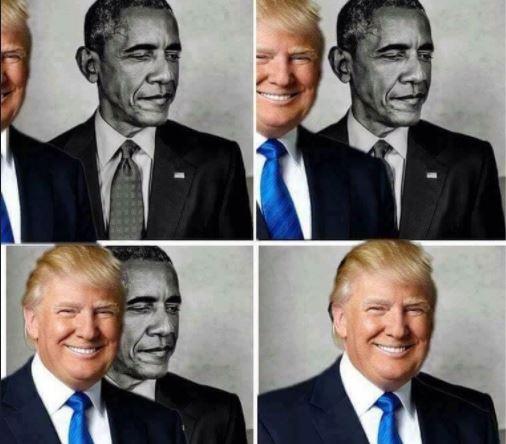 """Trump festina con meme de él tapando a Obama: """"El mejor eclipse de la historia"""""""