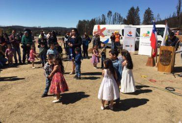 Santa Olga pone la primera piedra de nuevo complejo educacional tras los incendios