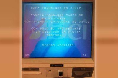 """""""¿Donaría dos mil pesos para el Papa?"""": Cajeros automáticos se suman a campaña por Francisco"""