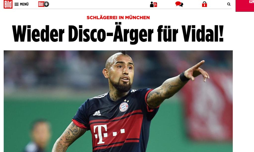 Diario alemán acusa a Vidal de participar en escándalo en discoteque
