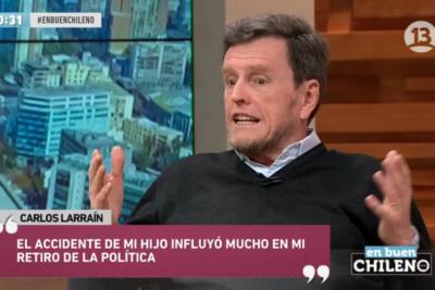 Seis frases más comentadas de Carlos Larraín sobre el accidente de su hijo en su regreso a la TV