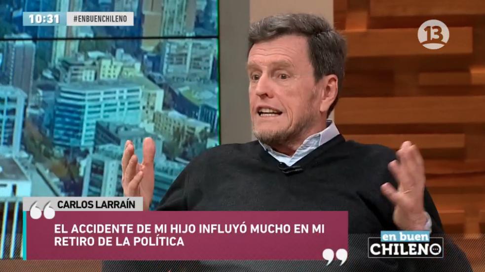 """""""Seis frases más comentadas de Carlos Larraín sobre el accidente de su hijo en su regreso a la TV"""""""