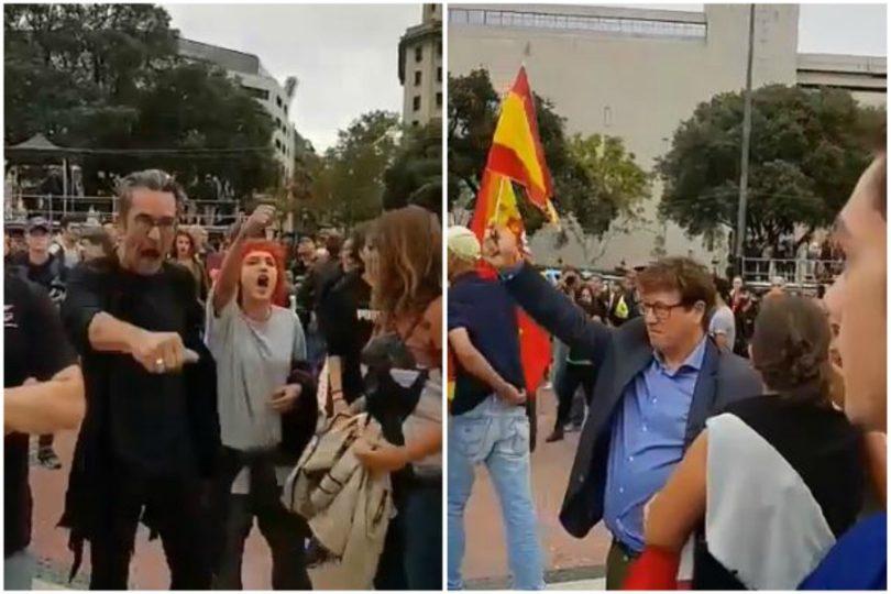 VIDEO | Así reaccionaron catalanes ante manifestantes con banderas españolas en la calle