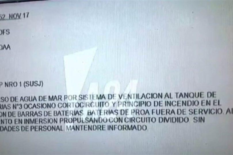 Este es el último mensaje que se recibió del desaparecido submarino argentino ARA San Juan