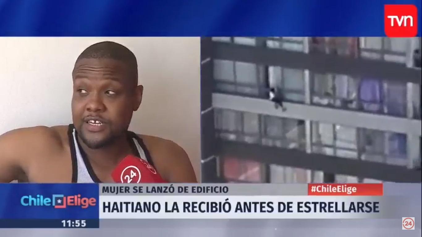 VIDEO   Increíble relato del ciudadano haitiano que recibió en sus brazos a mujer que cayó de noveno piso