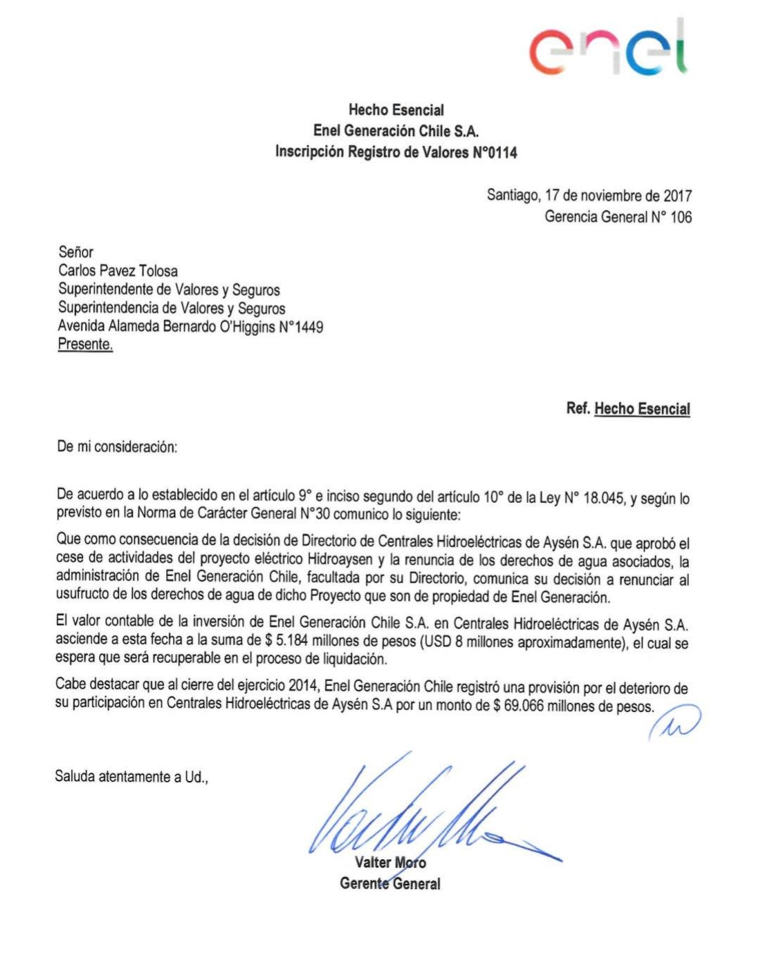 Colbún y Enel confirmaron fin del proyecto Hidroaysén