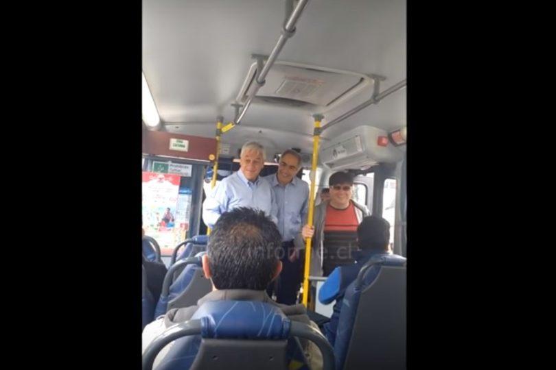 VIDEO | Con subtítulos: qué fue lo que le dijeron a Piñera cuando se subió a la micro en Valparaíso