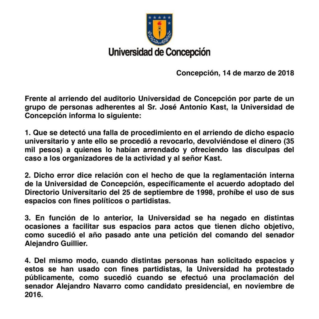 Universidad de Concepción explica cancelación de evento de José Antonio Kast