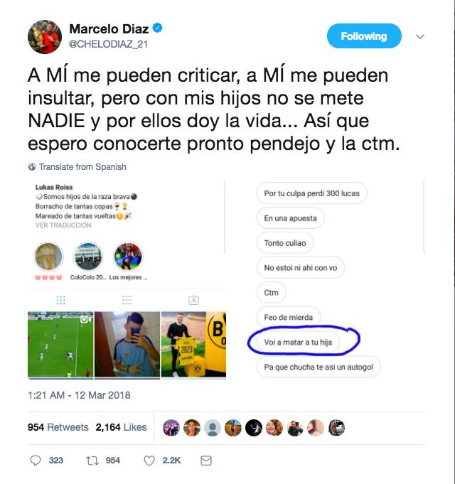 Marcelo Díaz responde a amenazas en contra de su hija