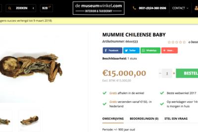 Venden momia bebe chilena en tienda holandesa por 11 millones de pesos