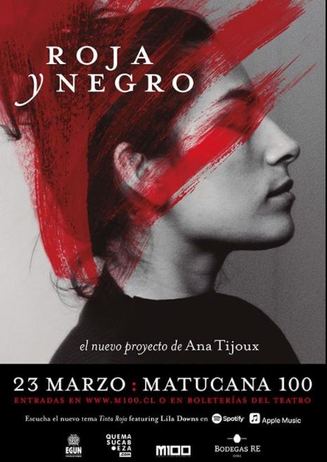 """""""Nuevo proyecto de Ana Tijoux, Roja y Negro, se presenta en Matucana 100"""""""