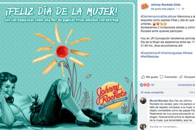 """Destrozan promo de Johnny Rockets por el 8M: Pedían etiquetar a una """"mujer exquisita para untarla en salsa"""""""