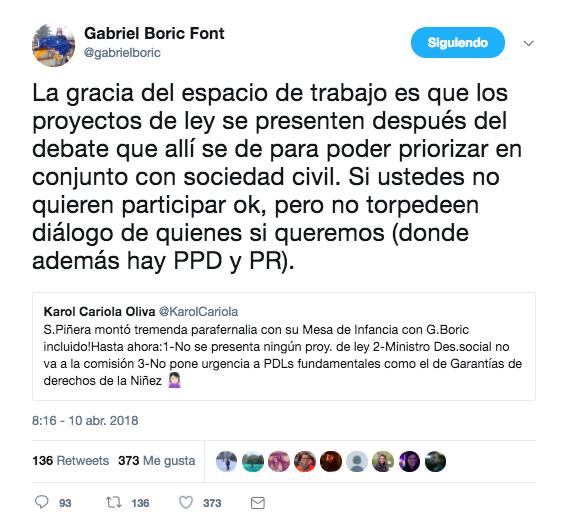 Cariola, Vallejo y Boric ventilaron sus diferencias respecto al diálogo con Piñera
