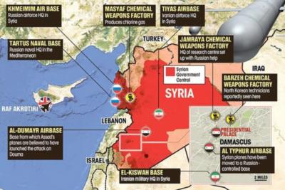 Estos son los mapas que muestran dónde están las naves de Rusia y Estados Unidos en Siria