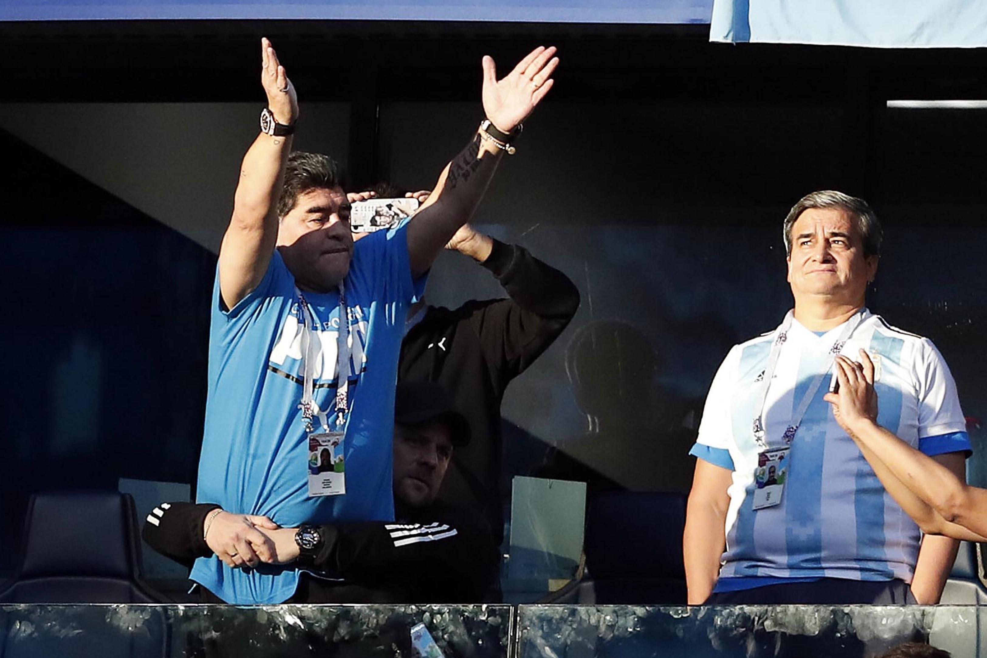 Una aclaración de Maradona a los mal pensados que creían que estaba drogado en Rusia 2018