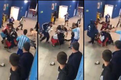VIDEO | Ojalá queden fuera: graban a cinco hinchas argentinos golpeando en el suelo a seguidores de Croacia en pleno estadio