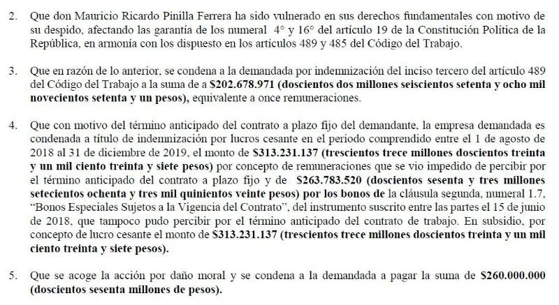 Las otras exigencias de Pinilla a Azul Azul
