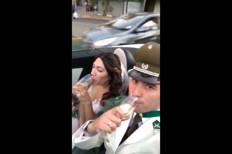 VIDEO  Acusan que carabinero infringe ley de tránsito al grabarse bebiendo mientras iba en un auto: él niega consumo de alcohol