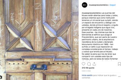 Sentido mensaje del Museo de Arte Precolombino luego que desconocidos dañaran históricas puertas de ingreso