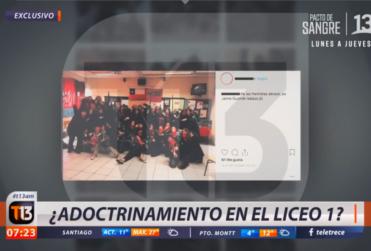 """Acusan que imágenes usadas por Canal 13 para reportaje sobre """"adoctrinamiento en el Liceo 1"""" son de una obra de teatro"""