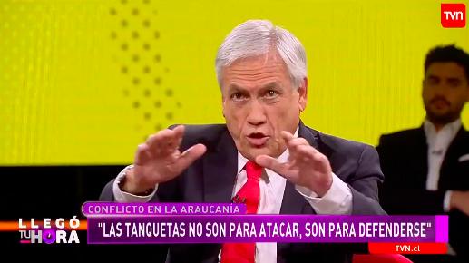 """Piñera asegura que las tanquetas en La Araucanía """"no son para atacar, son para defenderse"""""""