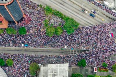 Impactante registro desde la altura de la manifestación contra Maduro en Venezuela