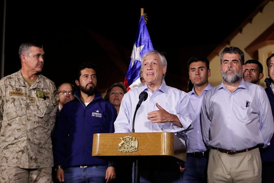 """Sebastián Piñera en el norte: """"En menos de 24 hemos decretado zona de catástrofe"""""""