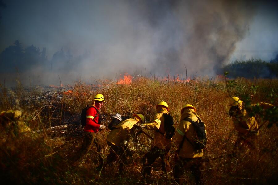 Rescatan a dos personas en medio de incendio forestal en el Maule