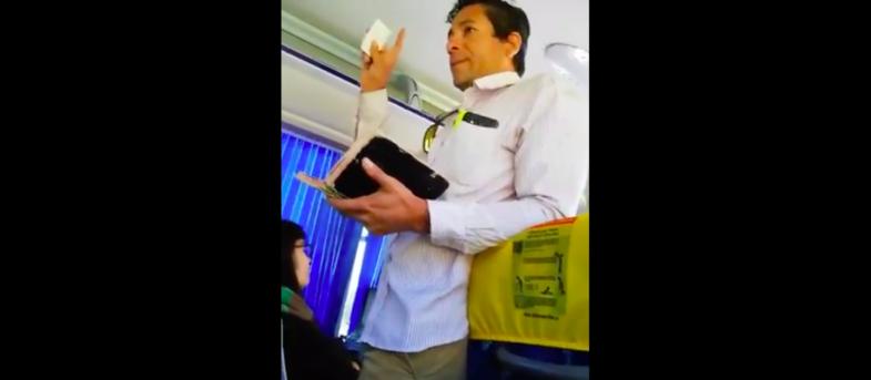 VIDEO | Fanático religioso se pone a predicar en bus Valparaíso – Santiago y pasajeros le dijeron de todo