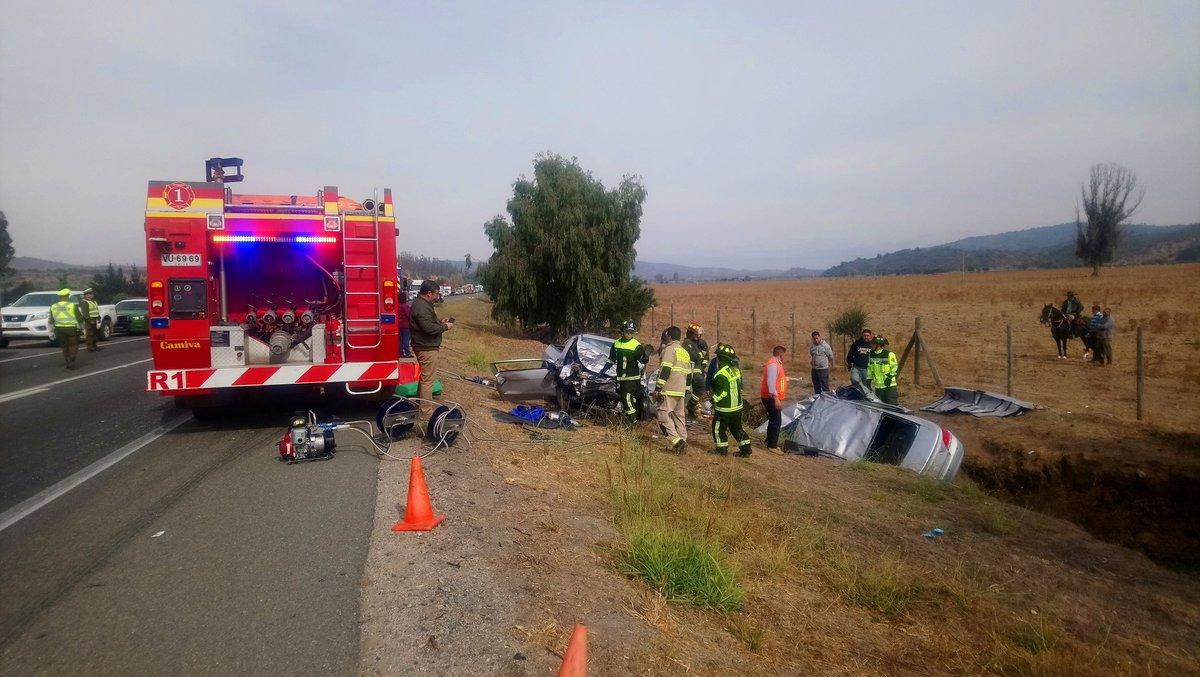 Dos muertos dejó un choque frontal en ruta que une Casablanca y Algarrobo