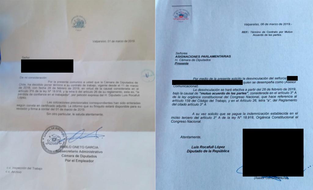 Cartas enviadas al trabajador desvinculado del equipo de Luis Rocafull.